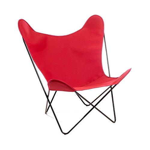 Manufakturplus - Butterfly Chair Hardoy - Acryl - Edelstahl gebürstet - Acryl rot - Jorge Ferrari-Hardoy - Design - Gartenstuhl - Sessel - Sonnenstuhl - Terrassenstuhl
