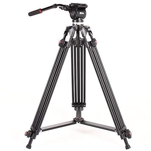 ASHANKS ビデオカメラ 三脚 油圧ダンピング ボール雲台 3段階伸縮可能 3way雲台 角度調節 カメラ 三脚 プロ...