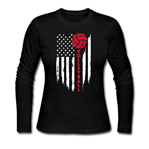 Volleyball American Flag Women's Long Sleeve Jersey T-Shirt, L, Black