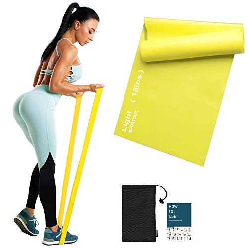 Sportout Fitnessbänder Set, 2m Ultra Lange Gymnastikband,3 Widerstandsstufen Dehnbänder,Resistance Band Trainingsbänder für Yoga, Ballett, Pilates, Physiotherapie (Yellow-15lbs-Light Resistance)