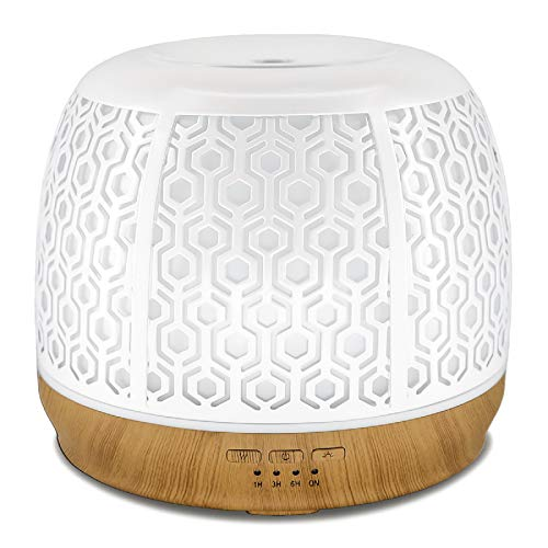 500ml Metal Aromatherapy Ultrasonic Cool Mist Aroma Essential Oil Diffuser, Usage up to 20 hours,Whisper Quiet Humidifier with Waterless Auto Shut-Off Protection and 7-Color Changed LED for Home Offic