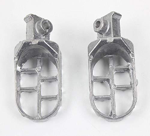 Reposapiés motocicletas Pedales de clavijas para Y&amaha TW200 PW50 PW80 Pit Dirt Bike SSR SDG reposapiés juego de clavijas para H&onda X R 50 XR70 Pedal (Color : Plata)