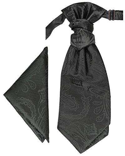 Paul Malone Plastron Set schwarz paisley 2tlg Plastron mit Einstecktuch - Hochzeit Krawatte