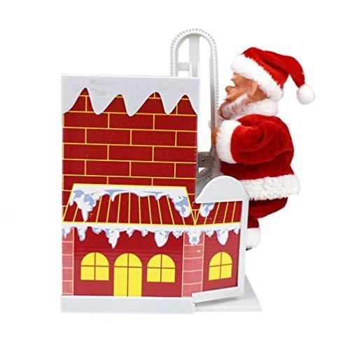 DDELLK kerstfiguren, kerstman op ladder elektrische klimmen open haard kerstfiguur met muziek ornament decoratie gifts kersthuisdecoratie Medium Chimney.