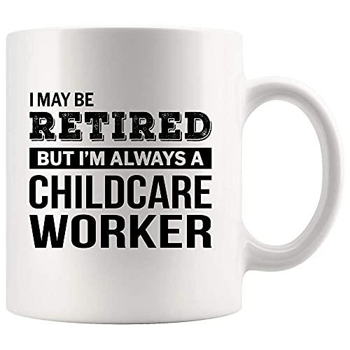 Taza de café con diseño de trabajador de cuidado infantil retirado para despedida