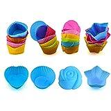 24 Stück Muffinform Silikon,Cupcake-Formen,Wiederverwendbare Umweltfreundliche Backförmchen,Muffin Förmchen,Backformen aus Silikon BPA-frei,Cupcakeförmchen für Kuchen, Eincreme und Pudding