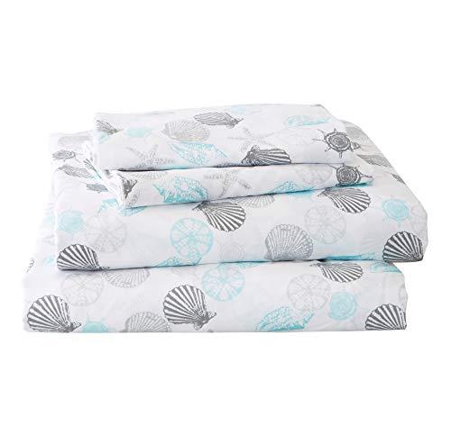 Great Bay Home Printed Coastal Microfiber Bed Sheets Wrinkle Free Deep Pockets Beach Theme Sheet Set Newport Collection Twin Seashell