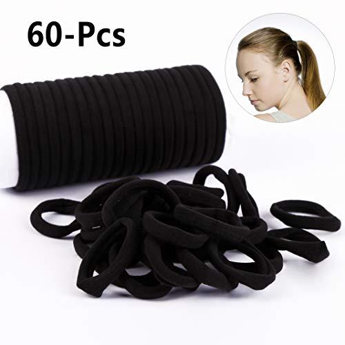 Haargummi Schwarz 60 Stück, Vegena Haargummis ohne Metall Elastisches Haarband für Pferdeschwanz Halter, für Damen & Mädchen den alltäglichen Gebrauch