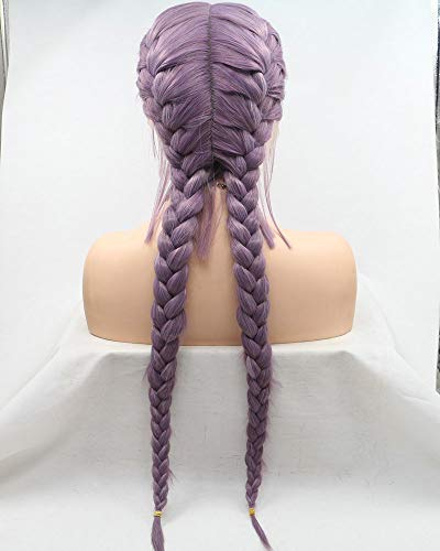 New Arrival Mixed Lavender/Purple Double Braided Wigs With Baby Hair Handmade Lace Front Wigs For Women Cosplay Wedding Holidays Wigs Heat Resistant Synthetic Wig Natural 2x Twist Braids Long Hair 24'