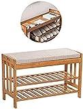 DDSGG Estante de Zapatos Zapatero de bambú Banco Zapato, Zapatero con el Amortiguador y Ocultos del Compartimiento, Dormitorio con Sala de Entrada Caja de Zapatos (Color : Simple-4)