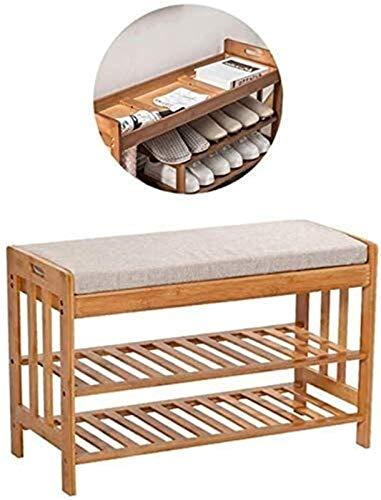 QZMX Estante de Zapatos Zapatero de bambú Banco Zapato, Zapatero con el Amortiguador y Ocultos del Compartimiento, Dormitorio con Sala de Entrada Estante (Color : Simple-4)