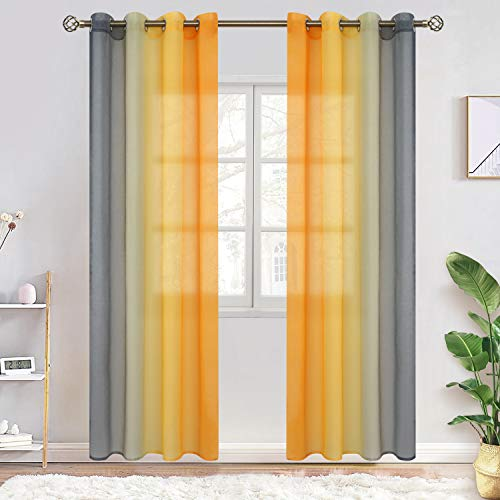BGment Ombre Sheer Curtains for Kids Room, Faux Linen Grommet Two-Color Linear Gradient and Decorative Window Curtain Panels for Girls Room, Set 2 Panels (Each 52 x 72 Inch, Mustard and Gray)