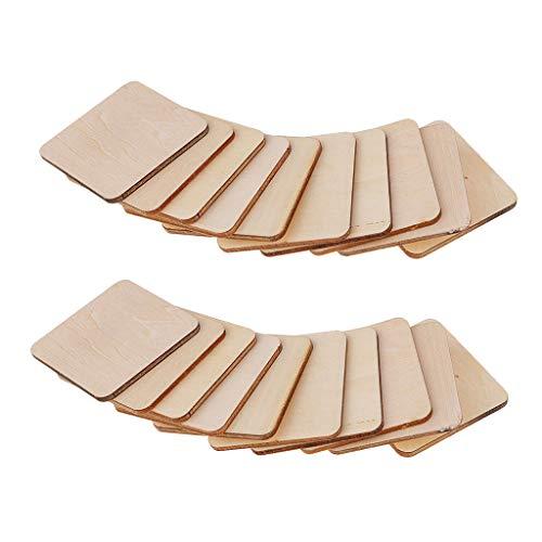 Colcolo 20 placas cuadradas de madera en blanco de 50 x 50 x 5 mm sin terminar con formas de madera