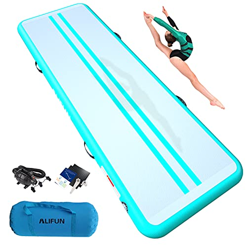 ALIFUN Tumbling Mat 10ft 13ft 16ft 20ft Tumble Track Thick 4/8 Inches Gymnastics Inflatable Training Exercise Mat with Electric Air Pump for Home Use/Tumble/Gym/Cheerleading