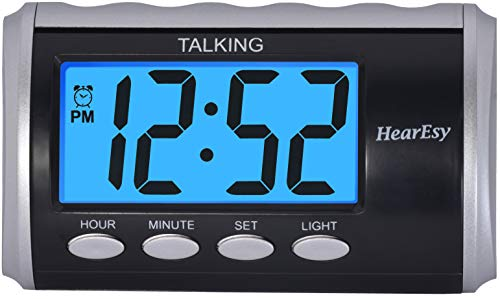 Talking Clock for Visually Impaired - Large Numbers Desk Clock - Day Clock for Seniors - Battery Operated Large Display Alarm Clock by TimeChant 1714-IPS