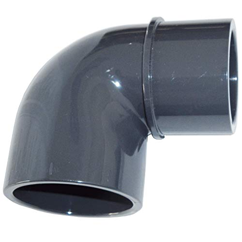 Plimat PVC Klebefitting 50 mm T-Stück Bogen Rohr Winkel Muffe Kappe Verschraubung (PVC Winkel 90° - reduziert)