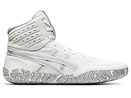 ASICS Men's Aggressor 4 Wrestling Shoes, 5M, White/Pure Silver