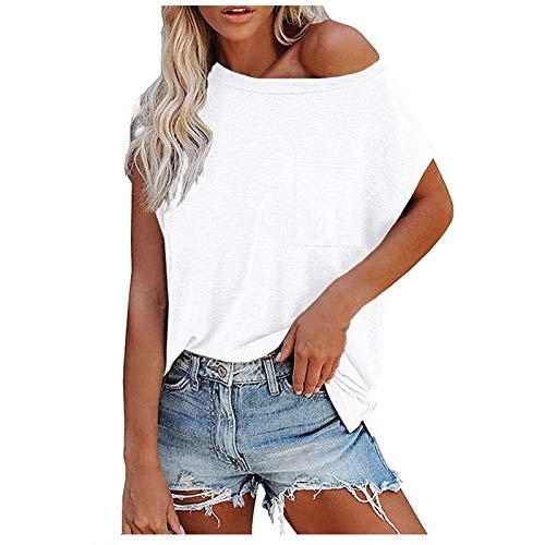 DüNne Sommer Blusen T Shirts Damen Oversize Weisse Blusen Damen Damen T Shirt Kurzarm Bluse Damen T Shirt Damen Gummizug T Shirt Damen Kurzarm Print Damen Oversize Shirt Pullover Damen Schick