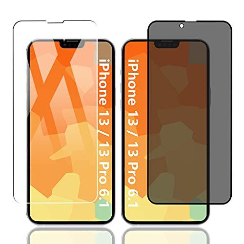 AnnhanT [1+1 Stück] für iPhone 13/iPhone 13 Pro Privacy Panzerglas + Panzerglas Schutzfolie [ Privatsphäre Schutz,9H,Kratzfest], Anti-Spy Displayschutzfolie für iPhone 13/iPhone 13 Pro