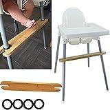 Reposapiés para trona, 50x8.2x1.9cm Reposapiés de madera de bambú natural antideslizante ajustable para bebé Reposapiés para trona con anillos de goma, compatible con los Antilope IKEA para tronas
