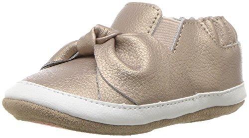 Robeez Girls Low Top Sneaker-Mini Shoez Crib Shoe, bella's Bow - Gold, 6-9 Months M US Infant