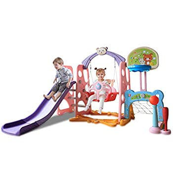 Toddler Climber and Swing Set 6 in 1 Kids Indoor & Outdoor Slide Swing Playset W/Basketball Hoop Football Gate Baseball Bat Easy Climb Stairs for Infant Playground Games  from US Pink