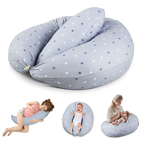 Levesolls Almohada Embarazo Cojin Lactancia Almohada Multifuncional para Madre y Bebé 100% Algodon Extraíble y Lavable