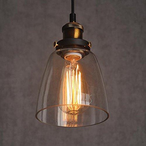 Luminaire Suspension Vintage Edison industrielle Verre Ambre Shade plafond Lustre Montage Retro Vintage Pendentif Lampe (lampe)