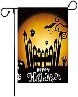 """Fiuqaomy Hppy Halloween Bat Ghost Castle Garden Flag Vertical Double Sized, Holiday Burlap Yard Outdoor Decoration 12.6"""" 1..."""