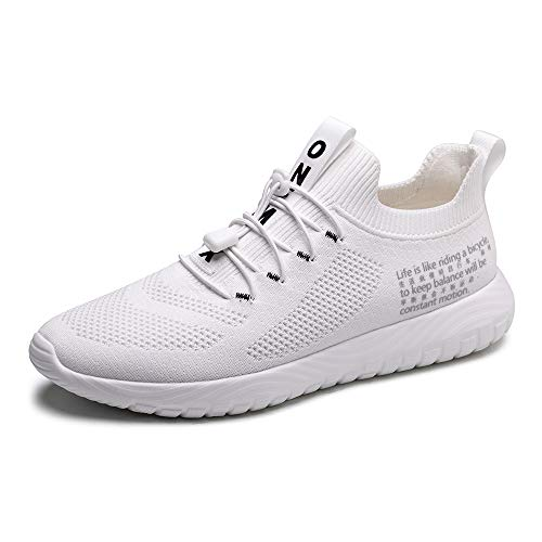 ONEMIX Zapatillas de Running para Hombre Casual Mujer Tenis Gym Correr Gimnasio Deportives Sneakers Zapatos 1583 White 45
