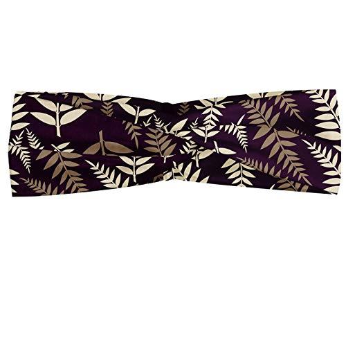 ABAKUHAUS Art Déco Bandeau, Feuilles Branche d'alignement aléatoire effet vintage sur fond violet, Serre-tête Féminin Élastique et Doux pour Sport et pour Usage Quotidien, Sépia pourpre foncé crème