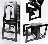 Montessori - Tour d'apprentissage 2 en 1 - Tour d'apprentissage pour enfant de 1 an - Table et chaise avec tableau noir...