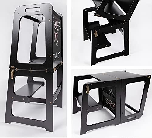 Montessori - Torre de aprendizaje para cocina 2 en 1, torre de aprendizaje para 1 año, mesa y silla con pizarra, ayudante de cocina plegable (negro)