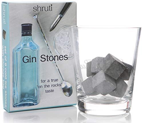 9kubische Gin-Steine zum Kühlen von Drinks, Eisstein-Getränkekühlwürfel für Whiskey, Wein und andere Getränke auf kalten Granitwürfeln, Lieferumfang enthält Musselin-Beutel