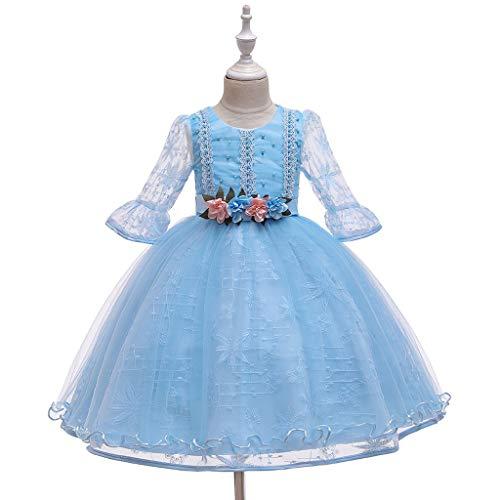 Janly - Abito da principessa a maniche lunghe, in pizzo, per bambini di età compresa tra 0 e 10 anni, in tulle per feste e cosplay, per bambini di età compresa tra 2 e 3 anni, colore: Blu
