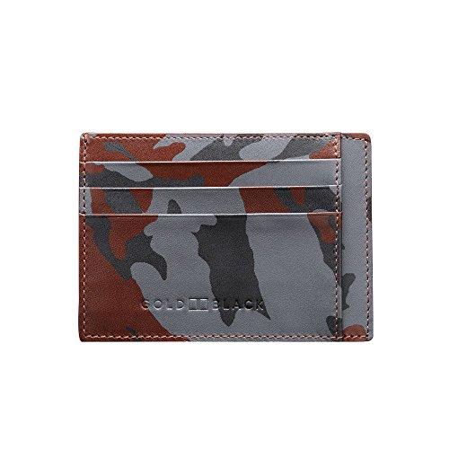 GOLDBLACK premium designer creditcardetui lederen etui camouflage [echt leer] het origineel, kleine, dunne luxe kaartenetui nobele portmonee ultra slim etui tas van echt leer, 1 jaar garantie