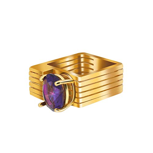 Allywit Ring for Her Engagement Rings for Women Geometric Square Birthstone Rings Gold Purple Plated Wedding Bands for Lady Girl (8, Gold) Photo #3
