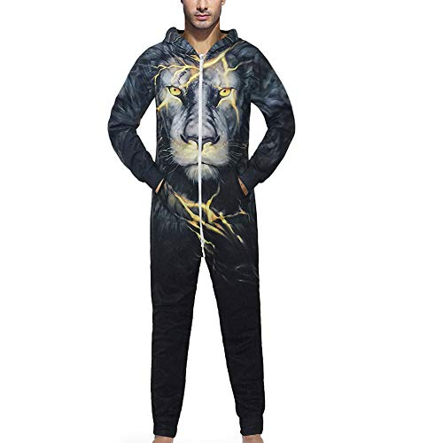 FRAUIT 3D Druck Unisex Jumpsuit Liebhaber Pyjama-Sport-Klage Hoodie-3D Jogger Kapuzenpullover Strampelanzug 3D Printed Onepiece Männer Weich Nachtwäsche Fitness Trainingsanzug (Schwarz, L)