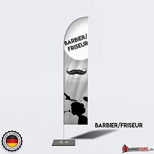 Bannerteufel Beachflag Friseur Barbier Hair Cut Aufsteller Neueröffnung Außenschild Neueröffnung Werbung Messestand Fahne Kundenstopper DIY Winddurchlässig in verschiedenen Größen, 4XL (520 cm)
