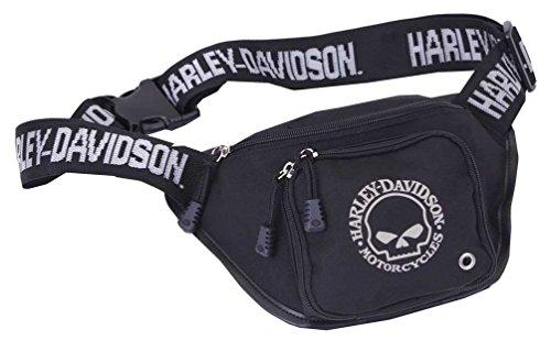 HARLEY-DAVIDSON Willie G. Skull Logo Belt Bag (28 x 19 x 9 cm) - Gürteltasche Hipbag Doppeltasche mit Reißverschluss - Unisex Herren Damen Bauchtasche Schwarz - Hüfttasche Waist Bag Totenkopf