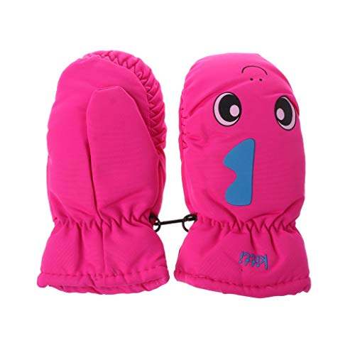Cuigu Baby-Handschuhe für den Winter, für Kinder von 2-5 Jahren, für Jungen und Mädchen, im Freien, Schnee, Snowboard, warm, wasserdicht, winddicht, Leuchtendes Rosa., 7.09