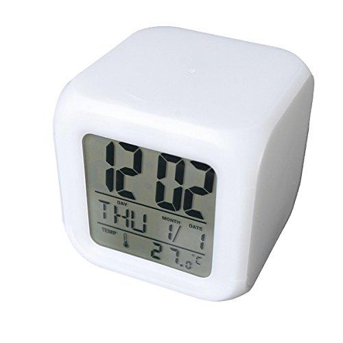 Cadillaps 7 Couleurs Changeantes LED Reveil Cube Lumineux LCD Horloge Veilleuse avec Date Tempérqture