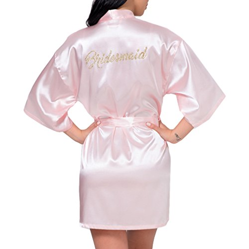 hibote Weding Braut Brautjungfer Robe Hochzeit Kimono Bademantel Satin Seide Kleid Rosa Brautjungfer