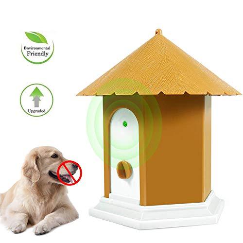 APoony Hund Ultraschall Anti Bellen Repeller mit Hängendem Seil Cute Haus Form Anti-Bellkontrolle Ultraschall-Anti-Bell-Stopp Antibell Trainer Im Freien für Kleine/Mittlere/Große Hunde (Gelb 11)