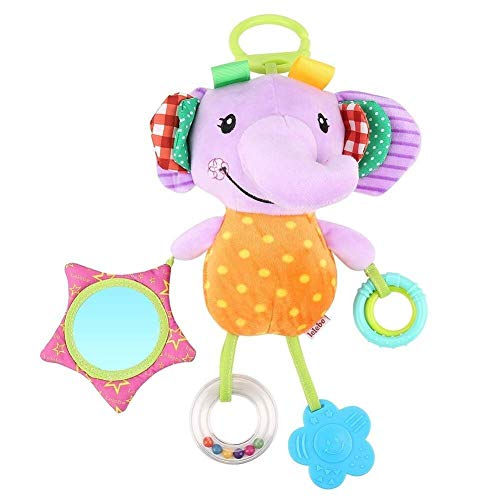 Kinderwagen speeltjes Knuffels Cute Animal Rattle Toys Soft Hangende Kreuk Piepende Vroege educatief speelgoed Crib kinderwagen Car Attachment met Bijtring (Kleur: Elephant) (Color : Elephant)