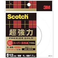 (まとめ) 3M スコッチ 超強力両面テープ プレミアゴールド (スーパー多用途) 12mm×4m SPS-12 1巻 【×5セット】
