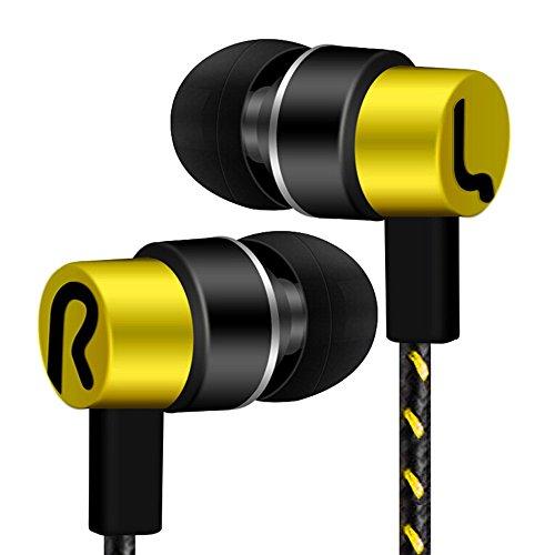 Yowablo Kopfhörer Universal 3,5 mm In-Ear-Stereo-Ohrhörer-Kopfhörer In Ear Kopfhörer für Handy ( Gelb )