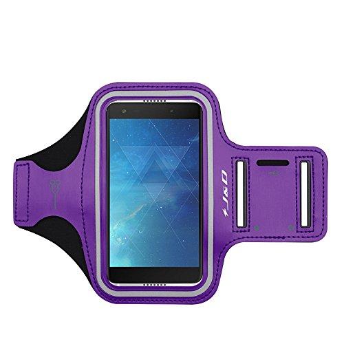 J&D Kompatibel für Alcatel Idol 5S Armband, Sport-Armband für Alcatel Idol 5S, zusätzliche Tasche für Schlüssel, perfekte Kopfhörer-Verbindung für unterwegs - Violett