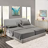 Nestl Deep Pocket Split King Sheets: Bed Sheets with 2 Fitted Sheets, Flat Sheet, Pillow Cases - Extra Soft Microfiber Bedsheet Set with Deep Pockets for Split King Mattress - Charcoal Stone Gray