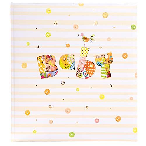 Goldbuch Babyalbum, Baby Circle, 30 x 31 cm, 60 weiße Blankoseiten mit 4 illustrierten Seiten und Pergamin-Trennblättern, Kunstdruck mit Goldprägung und Relief, Weiß/Gelb, 15317